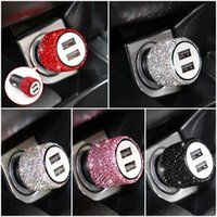 50pcs Mini Bling Diamond Metal Double Dual USB Car Chargers Charging Aluminum Alloy + ABS Charger 5 Colors