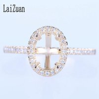Cluster Rings LaiZuan Oval 7.5x5mm Solid 10k Yellow Gold Women Trendy Fine Jewelry SI H Natural Diamonds Engagement Semi Mount Ring Setting