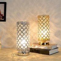 Lampe de table de bureau en cristal LED moderne E27 Lampe de chevet Lampe de nuit avec prise EU