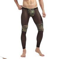 Men's Thermal Underwear GAY Men Sexy Transparent Tights Breathable Bodybuilding Sheer Mesh Long John Camouflage Wear Legging