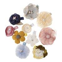 New Kids Children Hairpins Barrettes Baby Fabric Bow Flower with pearl Headwear Hair clips Girls Headdress cute