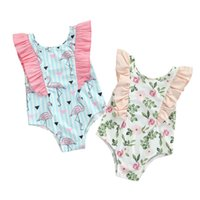 Clothing Sets Kids Ruffles Swimsuits, Girls Flamingo  Flower Print O-Neck Sleeveless Swimwear For Summer, 6 Months-4 Years