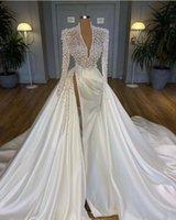Vintage 2021 Plus Size Pearls Mermaid Wedding Dresses Bridal Gowns With Detachable Train V Neck Long Sleeve High Side Split Robe de mariée