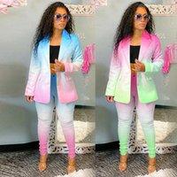 2021 Womens Spring Blazers Terno Escritório Desgaste Negócios Jaqueta Blazer e Calças Leggings Conjunto de Botão Botão Coat 2 Peça de Roupas Conjunto NK203