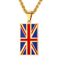 Flagge von Vereinigtes Königreich Halsketten Anhänger Gelbgold Farbe Edelstahl England Symbol Halskette Frauen Männer Schmuck P027