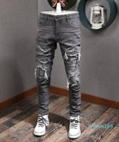 2021 Hombre Jeans Gray Impreso Patchwork Applique Men's 5 Pocket Slim Fit Estirar Denim Algodón Pantalones Vaqueros Hombre