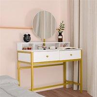 Sovrum möbler ljus lyx äkta trä dressing enkel smink singel spegel / fyra låda vit bord