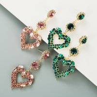 Fashion Women Heart Earrings S925 Silver Pin Studs Green Pink Bling Rhinestone Pendant Drop Jewelry Gifts Glass Drill Lady Girls Street Party Charming Accessories