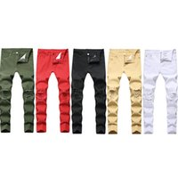 Jeans da uomo Swag Mens Designer Designer Brand Black Skinny RIPED STRUTTURATO STRETTO SLIG FIT HOP Pantaloni Hop con fori per gli uomini