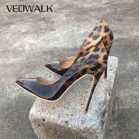 Veowalk Мода Женщины Леопардовые Патентные Кожаные Насосы Наземные Ноши 8-12 см Стлетто Ультра Высокий каблук Сексуальные Дамы Вечеринки Обувь Size34-43 210610