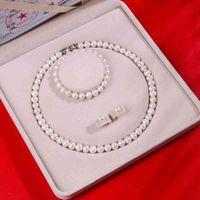 Природные пресноводные жемчужины ожерелье браслет серьги набор дел материнских подарков для свекрови