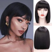 Lace Wigs Short Bob Wig Real Hair With Bangs Straight Brazilian For Black Women Human Glueless Pixie Cut Remy
