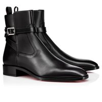 Fashion Luxurious Red Soles Ankle Boots Kicko Man Shoes Reds Bottom Boot For Men Shoe Black Suede Calfskin Elegant Men's Low Heels Booties