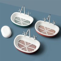 Caja de jabón ranura de agua Modelado de agua grifo de agua Escurridores de jabón fregadero Soporte de drenaje de esponja Copa de succión creativa Estante de secado de almacenamiento