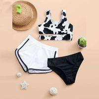 One-Pieces Three Piece Children's Swimwear Girl One Shoulder Crisscross Swimsuit Kids 8-14 Years Toddler Bikini Big Bathing Suit