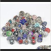 100pcs rétro 18mm bouton-pression en métal strass style mixte style mixte chunk bijoux ajustement pour nOosa instantané chunk bouton bracelet X9YKC 1YNTB