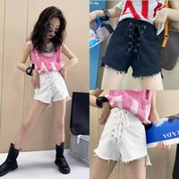 Korean INS Middle Kids Girls Denim Shorts Crop Lacing Fashions Streetwear Summer Princess Jeans Pants