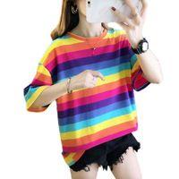 Women's T-Shirt Rainbow Stripes TShirt Casual O-Neck Short Sleeve Fashion Streetwear Christmas Shirt Plus Size Kawaii Womens Clothing