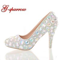 Красочные кристалл свадебные свадебные туфли круглые носят супер высокий каблук горный хрусталь туфли AB кристалл грационные церемония насосы