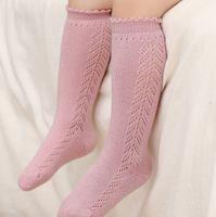 Ins младенца дети полые вязание колено высокий носок 2021 весна новых девочек ручной работы без кости без косточек носки дырки детей хлопок удобные ноги A5809