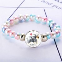 Kawaii Pet Dog Watch Picture Glass Dome Cabochon Charms Bracelet Colorful Beads Snap Button Bracelets Gifts For Kids