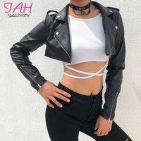 Iamhotty Siyah PU Deri Kırpma Sokak Giymek Punk Stil Bayan Mont Uzun Kollu Turn-down Fermuar Kısa Ceket 2019 Moda