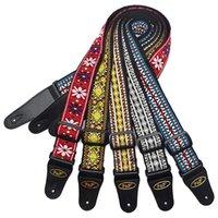 Acessórios do instrumento musical da correia do vintage da guitarra com tecidos tecidos do bordado para o baixo da guitarra elétrica popular acústica
