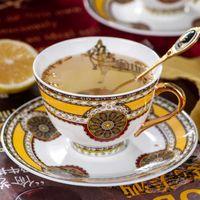Luxury Gold Bone China Tea Saucer Spoon Set Porcelain Ceramic Coffee Cup Advanced Teacup Taza Cafe Teatime Drinkware EE50BD