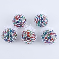 5CM Colorful Mesh Squishy Grape Ball Anti Stress Balls Squeeze Toys Decompression Anxiety Toys Venting Balls