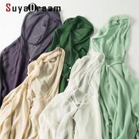 SuyaDream Mujer con capucha Blusa 100% Seda Georgette Botón de gasa sólido Blusa Blusa Camisa de verano Paño de protección solar Y200828