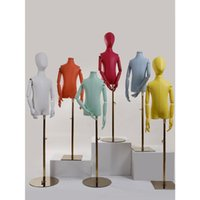 기타 홈 인테리어 4-6 세 어린이 드레스 폼 마네킹 가죽 몸통 바디 금속 조정 가능한 스탠드 모자 디스플레이