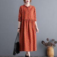 Льняное хлопок с длинным рукавом женщины платье осень печать прерии шикарный блузка плюс размер повседневная весна MIDI