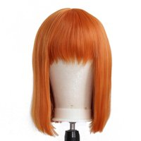Synthetic Wigs BTWTRY None-Lace With Bangs Orange Bob Hair Natural Heat Resistant For Women Cosplay And Daily Wear