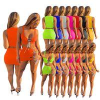 Damen ärmelloses sexy Sommerkleid Bodycon-Hemd + Minirock Two Piece Kleid Mode Hohe Qualität Crop Top Rock 2021 Sommer Stil D378