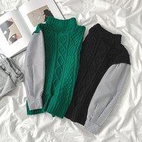 Maglioni da donna falso maglione a due pezzi 2021 autunno Hong Kong sapore cuciture selvaggio mezzo collo alto pullover maniche lunghe gx1360