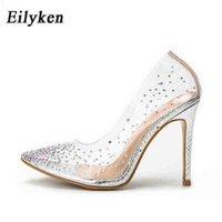 Eilken Fashion Rhinestones PVC Bombas Transparentes Tacones de tacones altos Partidas para mujer Partido Golden Tacones de boda Zapatos 210610 TV5A