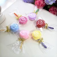 수건 10 조각 롤리팝 케이크 다채로운 사탕 크리 에이 티브 파티 선물 타월 코튼 멋진 2 색 작은