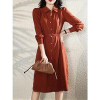 Casual Dresses French Retro Shirtdress For Women 2021 Autumn Temperament Long Sleeves Tie Waist Bow MIDI Dress