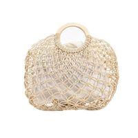 Duffel Bags J60D Womens Beach Handwoven Straw Handbag With Top Round Handle Hollow Out Crochet Fishing Net Travel Shopping Tote Bag Purse