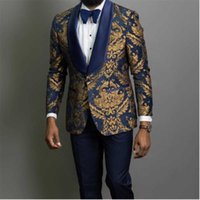 Men's Suits & Blazers Navy Blue Floral Jacquard Prom Men For Wedding 3 Piece Slim Fit Groom Tuxedo African Male Fashion Costume Jacket Pants