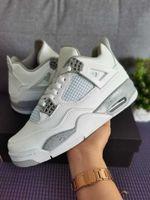 Calidad superior con calcetín White Oreo Jumpman 4 zapatos para hombre Tech Gray Black Fire Red 4S Hombres Mujeres Entrenadores Zapatillas de deporte