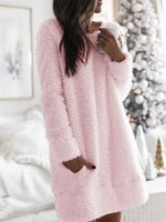 Casual Dresses Winter Festival Plush Cute Pink Dress For Girls Grunge Fairy Core With Pocket Homewear Watch TV Robe Shirt S-5XL