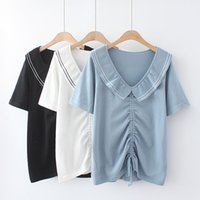 Women's T-Shirt Summer Women Clothes Oversized Tees 2021 Casual Plus Size Tops Short Sleeve Drawstring Ice Silk Knitting Camiseta Mujer