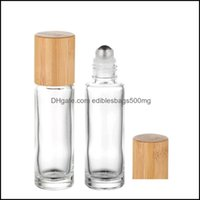 Bottles Packing Office School Business & Industrialbamboo Lid Cap Glass Roll On Portable Essential Oil Bottle With Stainless Steel Roller Ba