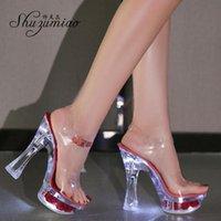 Sandalen Shuzumiao Glühende Frauen 2021 Sommer Blumen Transparente High Heels 14,5 cm Plattform dicke Ferse Damen Bankettschuhe
