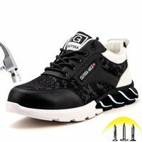 Stahlzehe Arbeitssicherheit Schuhe Mode Punktionsweise Bequeme rutschfeste Bau Industrial Arbeitsstiefel Lässige Turnschuhe B6xv #