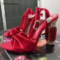 Sıcak Satış-2019 Moda Yaz Sandal Ayakkabı Kırmızı Mor Siyah Ipek Deri Elmas Topuk Tıknaz Topuk Düğün Ayakkabı Gelin Sandalias Y200702