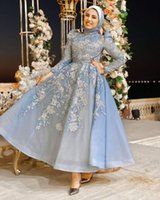 Classy Blue Muslim Beaded Evening Dresses High Neck Appliqued Long Sleeves Prom Gowns A Line Tea Length Sequined Organza Formal Dress