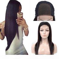 4X4 perruques de fermeture pour femmes noires 180% 250% de densité cheveux humains droit dentelle perruque de dentelle naturelle couleur noire bon marché perruque péruvienne Remy cheveux