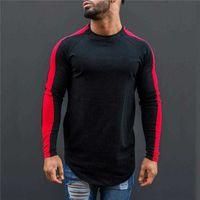 Men Casual T-Shirts Hip Hop Streetwear Mens Patchwork Long Sleeve O-Neck T Shirt Male Gym Bodybuilding Running Tops Tee